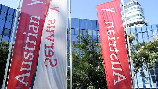 Drapeaux devant le siège social de l'AUA à Schwechat