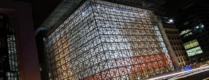 Europagebäude  in Brüssel bei Nacht