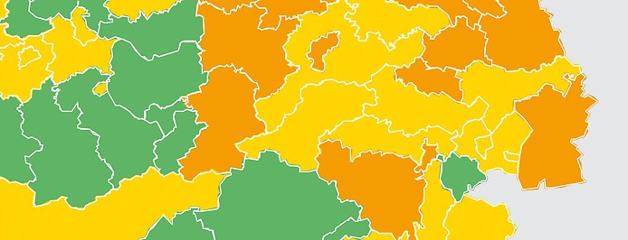 Österreichische Bezirke in Coronavirus-Ampelfarben