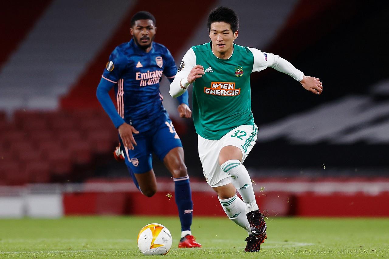 Japanese fast forward Koya Kitagawa in the Europa League match against Arsenal.