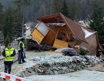 Das völlig zerstörte Wochenendhaus