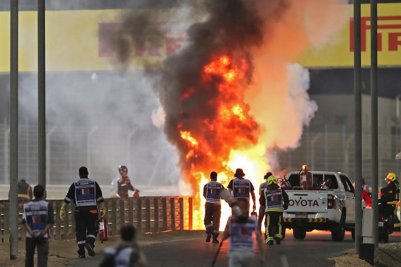 Lugar del accidente de Romain Grosjeans (HAAS)