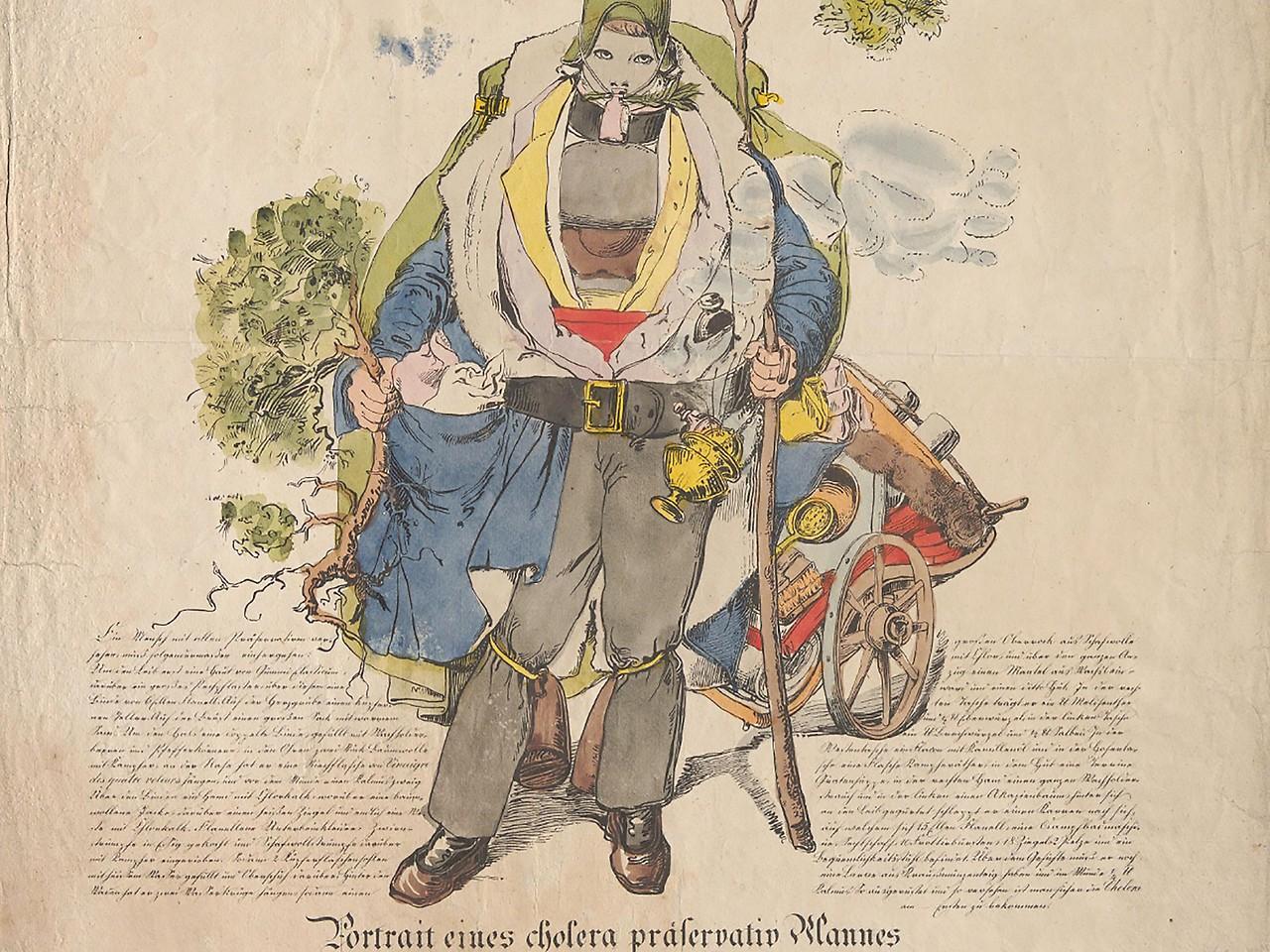 """Franz Wolf """"Portrait eines Cholera-Präservativ-Mannes"""", 1831"""