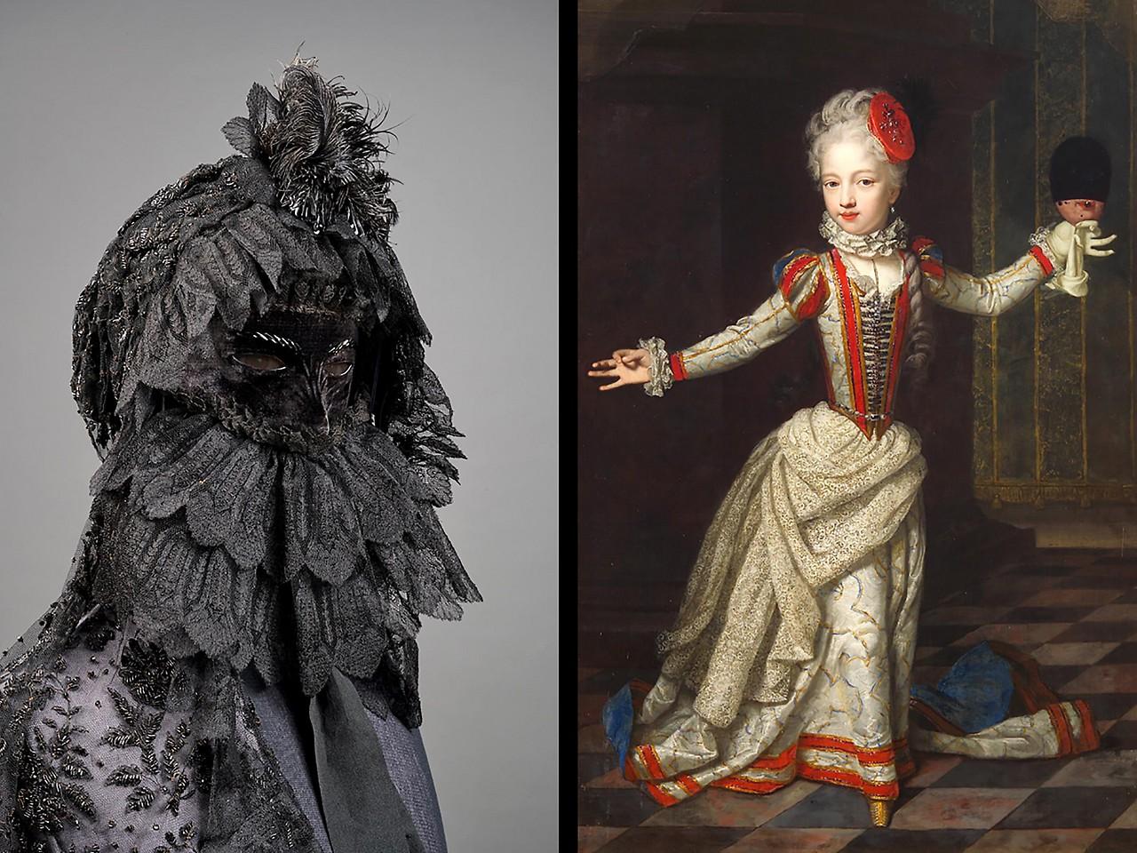Erzherzogin Maria Amalie im Tanzkleid mit Karnevalsmaske; Trauermaske und Trauerschleier der Kaiserin Elisabeth