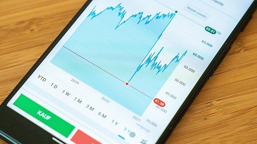 Stock market chart on the smartphone screen