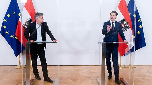 Der österreichische Vizekanzler Werner Kogler und Bundeskanzler Sebastian Kurz.