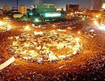 Antiregierungsdemo auf dem Tahrir-Platz in der ägyptischen Hauptstadt Kairo im Feber 2011