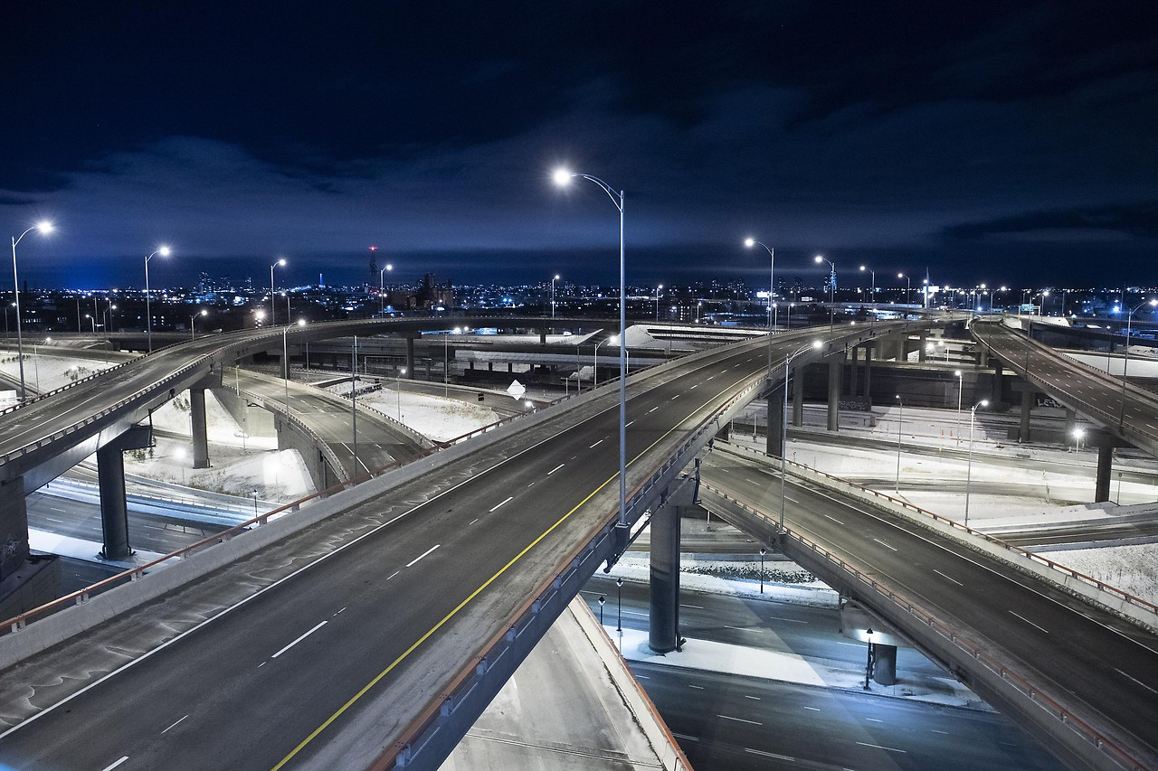 Empty expressways in Montreal, Canada
