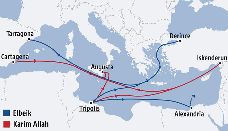 Schiffsrouten im Mittelmeer