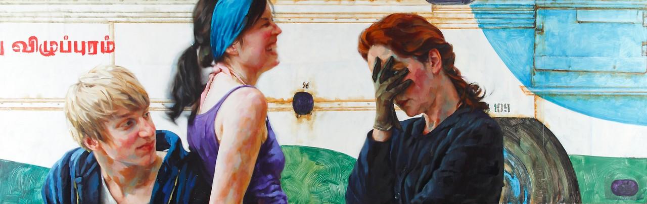 Blind Date, 2009; Öl auf Papier auf Dibond