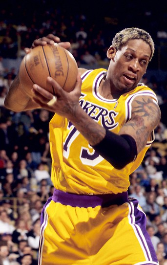 Dennis Rodman im Dress der Los Angeles Lakers