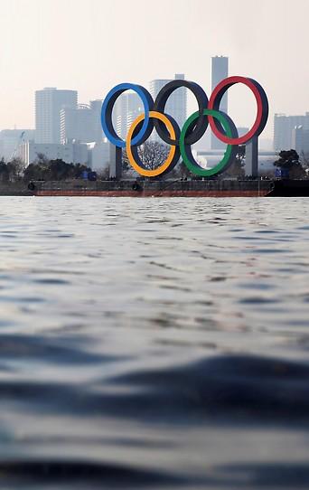 Olympische Ringe vor Tokio