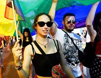 Teilnehmer der Pride-Parade in Budapest (Ungarn)