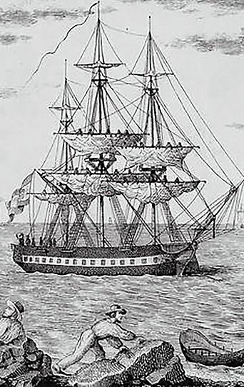 Kupferstich von Francisco Pérez zeigt Schiff María Pita