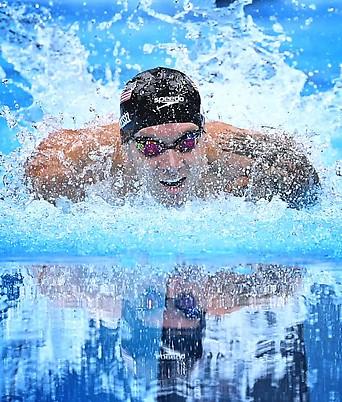 US-Schwimmer Caeleb Dressel während dem 100-m-Delfin-Bewerb