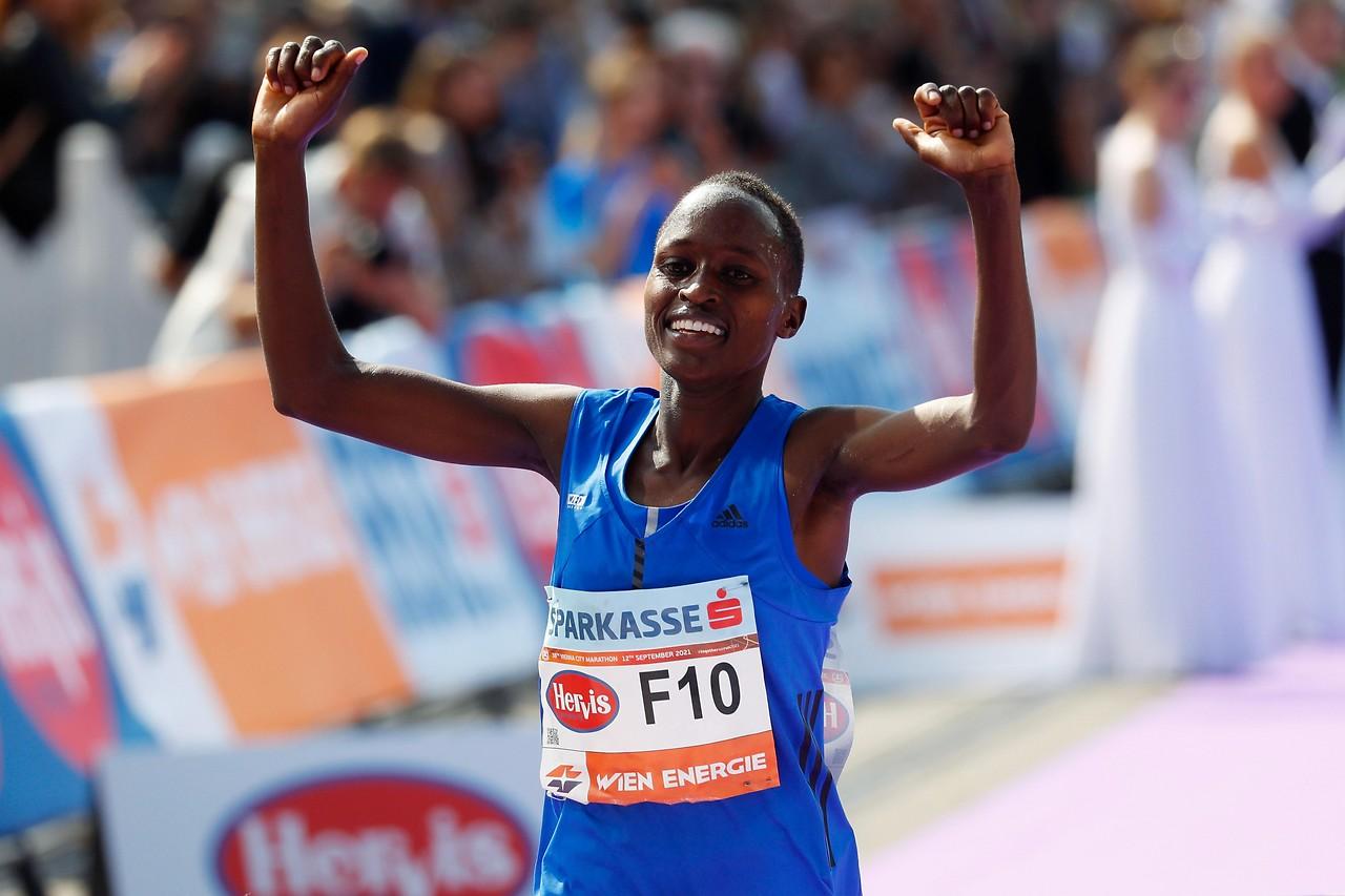 The winner of the Vienna City Marathon Vibian Chepkirui from Kenya at the finish line