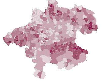 Ergebniskarte der MFG bei den OÖ-Landtagswahlen
