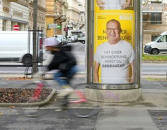 Plakatkampagne des Lebensmittelkonzerns Billa