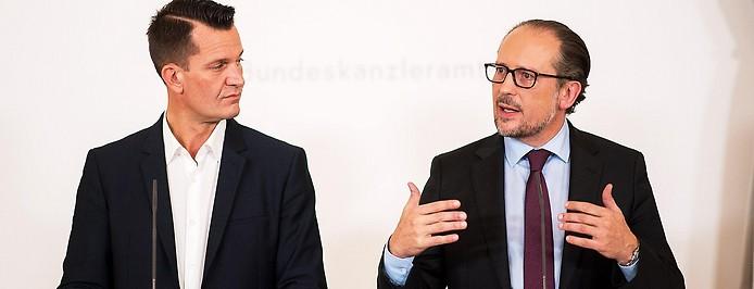 Gesundheitsminister Wolfgang Mückstein (Grüne) und Bundeskanzler Alexander Schallenberg (ÖVP)